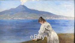 Oil Painting Sorrent Italy Naples with Vesuvius Italia from Monogram 23
