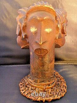 Old Ekoi wood Headpiece Basket Cap three headed from Nigeria Africa