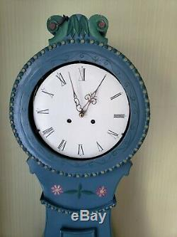 Original Antique Blue Swedish Mora Clock from late 19th century