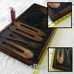 Original Antique Wood Block Letters Set / Typeset Drawer from 1950s Art Gallery