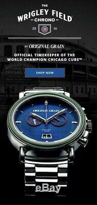 Original Grain Chicago Cubs men's watch. Made with wood from Wrigley Seats