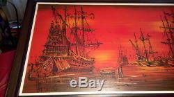 Original Van Gaard oil painting from his studio Spanish Galleons