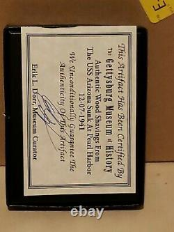 Original Wood From Deck of the USS Arizona Pearl Harbor December 7, 1941 In Case