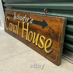 Original vintage Schaefer's Canal House wood sign from Chesapeake City Maryland