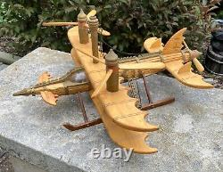 Outsider Folk Art Model Plane One of a Kind Handmade from wood Steampunk Het Man