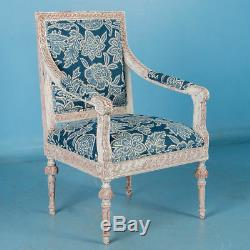 Pair, Antique White Painted Gustavian Armchairs From Sweden with Blue Fabric