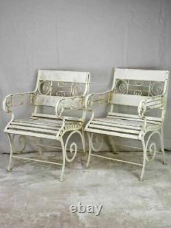 Pair of white 1930's French garden armchairs from Vichy