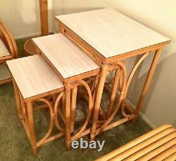 Paul Frankl Rattan Bamboo Set From Japan-mid century modern Tiki Art Deco 1950's