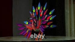 Peacock (pavoreal) Alebrije wood craved sculpture handmade from Oaxaca Mexico