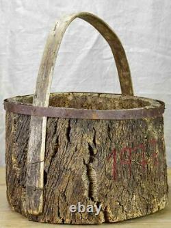 Primitive agricultural harvest basket made from cork for collecting mushrooms