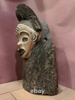 Punu Maiden Spirit Mask with Neck from Gabon Authentic Carved Wood African Art