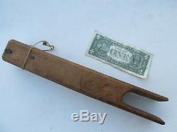 RARE Early Antique COLONIAL ROPE BED TIGHTENER, Hand Made From Wood, Hearth