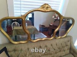 Rare Antique Old French Triple Mirrored Wall Hanging Gold Mirror From France