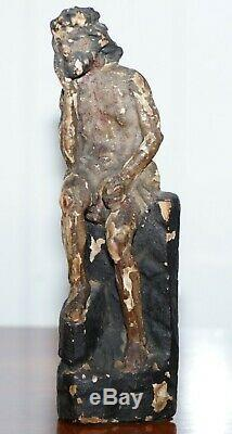 Rare Circa 1800 Polychrome Model Of A Seated Christ Hand Carved From Lime Wood