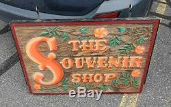 Rare Original 2 Sided Carved Wood Sign From Riverside Amusement Park Agawam Mass