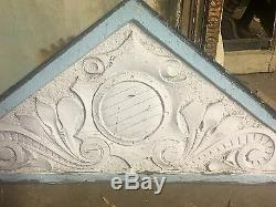 Rare Primitive Pediment From 1850's Buffalo Home In Floral Decoration Greyhound