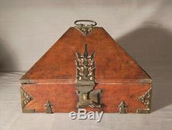Rare early 19th c Indian rosewood dowery box from the Malabar Coast authentic