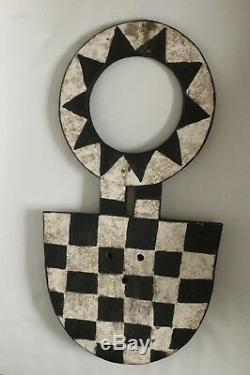 Rare old African mask from Bobo tribe with squares and triangles in its pattern