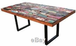 Rectangular Dining Table Made From Recycled Teak Wood Boats 79 x 39