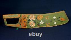 Scandinavia Swedish 1846 HND Rose Folk Paint Flax Scutching Knife from Sweden