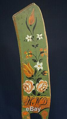 Scandinavian Swedish Scutching Flax Knife 1846 Initials Rose Painted from Sweden