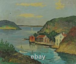 Signed View From A Fjord IN Norway With Houses And Boats
