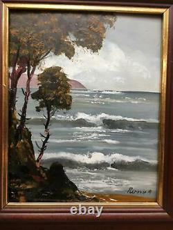 Small Framed Oil Painting Oceanside Signed by Ruppela From Merrill Chase