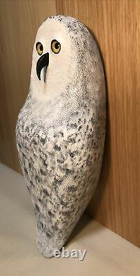 Snowy Owl Wood Carving Made From A Vintage Duck Decoy Body