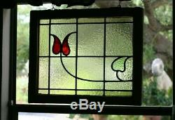 Stained Glass Leaded Window Old Antique From England Original Wood FrameVintage