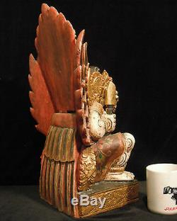 Super Rare Large Wood Carving of Ravana from the Ramayana 19 Tall (48 cm) Nice