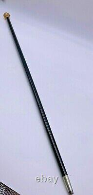 Superb Gold Presentation Cane From Employees Christmas to F. M. P 1888 Ebony