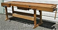 Superb Original Steiner 75+ Year Old Woodworking Wood Bench From Germany 2 Vises