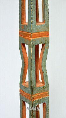 Swedish Blue Distaff Carved Sections from Sweden Textile Scandinavian Folk Art