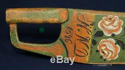 Swedish Flax Knife 1846 Initials Rose Painted From Sweden Scandinavia Scutching