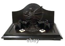 Table inkwell with a scene from the movie Chapaev. Wood, bone