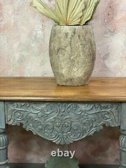 Tall Carved Console Table Made From Mango Wood