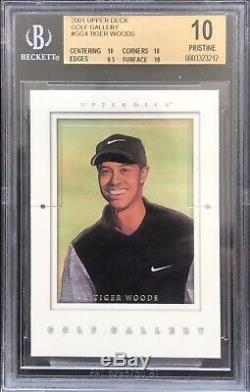 Tiger Woods 2001 Upper Deck Golf Gallery Rookie BGS 10 Only 0.5 From Black Label