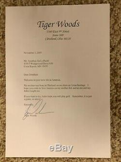 Tiger Woods Signed letter from 2005
