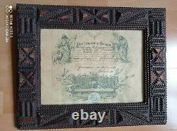 Tramp Art, original frame with a souvenir from the communion from 1889