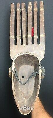 Tribal Bambara N'tomo Horned. Wood with metal Mask from Mali Africa, wall decor