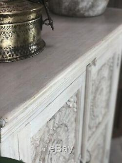 Two Door Carved Sideboard Made From Mango Wood