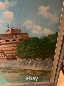 View of Rome from the TIber River. 1965 oil on wood signed indistinctly lower