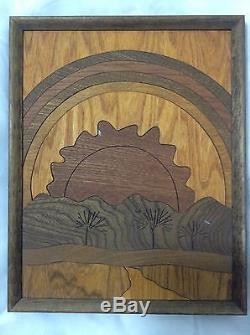Vintage 1979 Wood Cut Original Framed Art From Hawaii. Rainbow