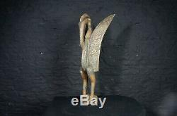 Vintage African Art Large Carved Wooden Mythical Bird Statue from Sierra Leone