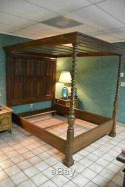 Vintage Ethan Allen Queen Wood Canopy Bed Frame from 1970's