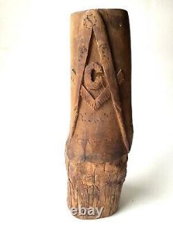 Vintage Folk Art Masonic Wood Carving From Lookout Mountain TN Americana