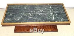 Vintage Green Marble and Wood One-of-a-Kind Table from Barnett Bank Building Fl