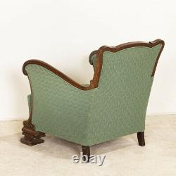 Vintage Green Upholstered Arm Chair from Denmark