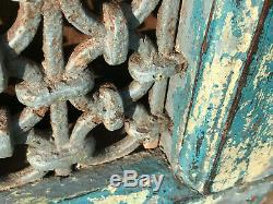 Vintage Indian Steel Wood Window Jali Original Paint Salvaged From Rajasthan b
