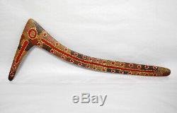 Vintage Painted Warlpiri Aboriginal Hooked Boomerang Wilgi from Lajamanu NT 1987